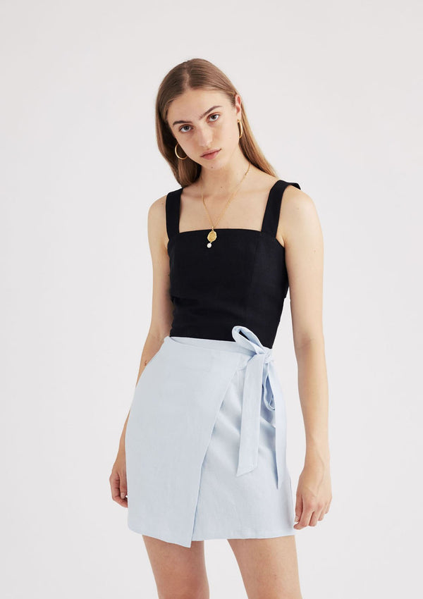Gemma Wrap Mini Skirt in Powder Blue