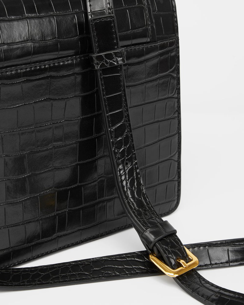 JW PEI Fiona Vegan Faux Croc Crossbody - Black