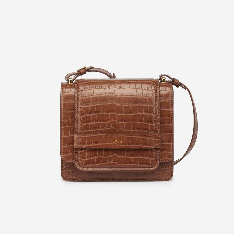 Fiona Vegan Faux Croc Crossbody - Brown