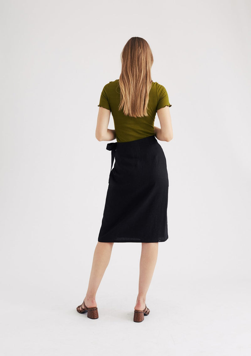 Gemma Wrap Skirt in Black
