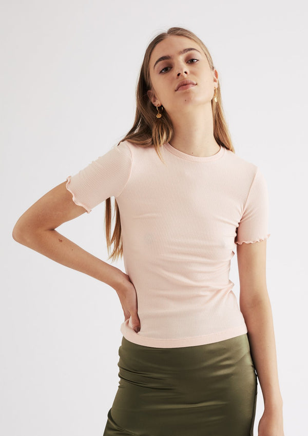 Nancy Ribbed Tee in Baby Pink
