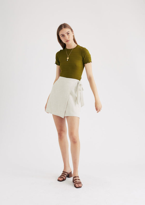 Gemma Wrap Mini Skirt in Natural