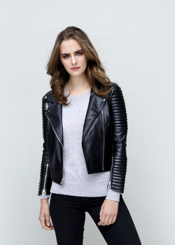 Moto Quilted Vegan Leather Biker