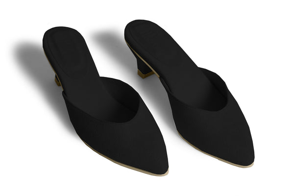 The Vegan Kitten Heel - Black