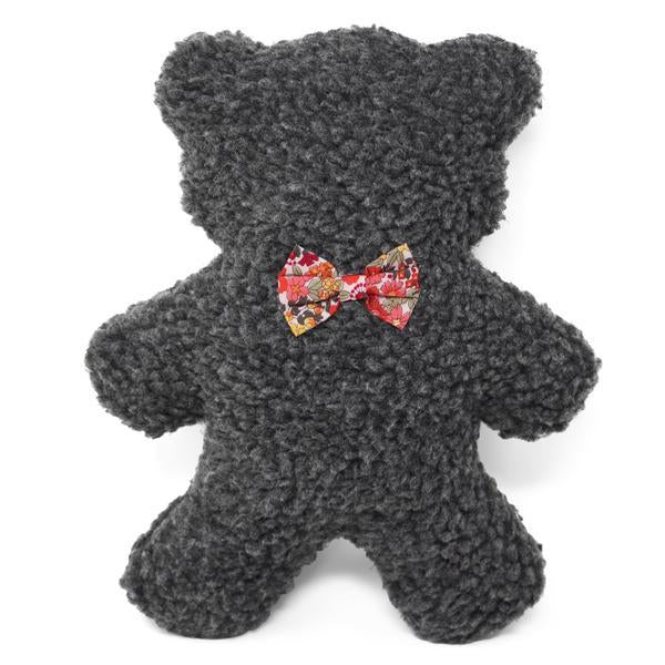 Modern Beast Lavender Bedtime Bear - Gray Sherpa + Red Floral Bowtie