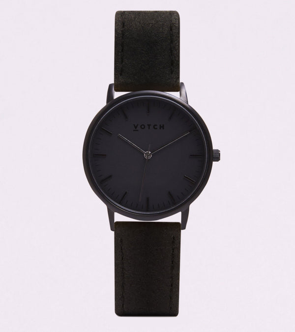 Votch Black Piñatex Watch (Vegan Pineapple Leather)
