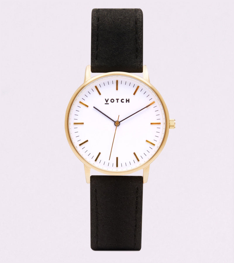 Votch Black and Gold Pinatex Watch (Vegan Pineapple Leather)