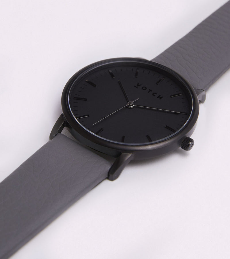 Votch - Black and Gray Vegan Leather Watch