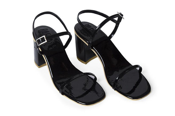 The Simple Vegan Sandal - Glossy Black