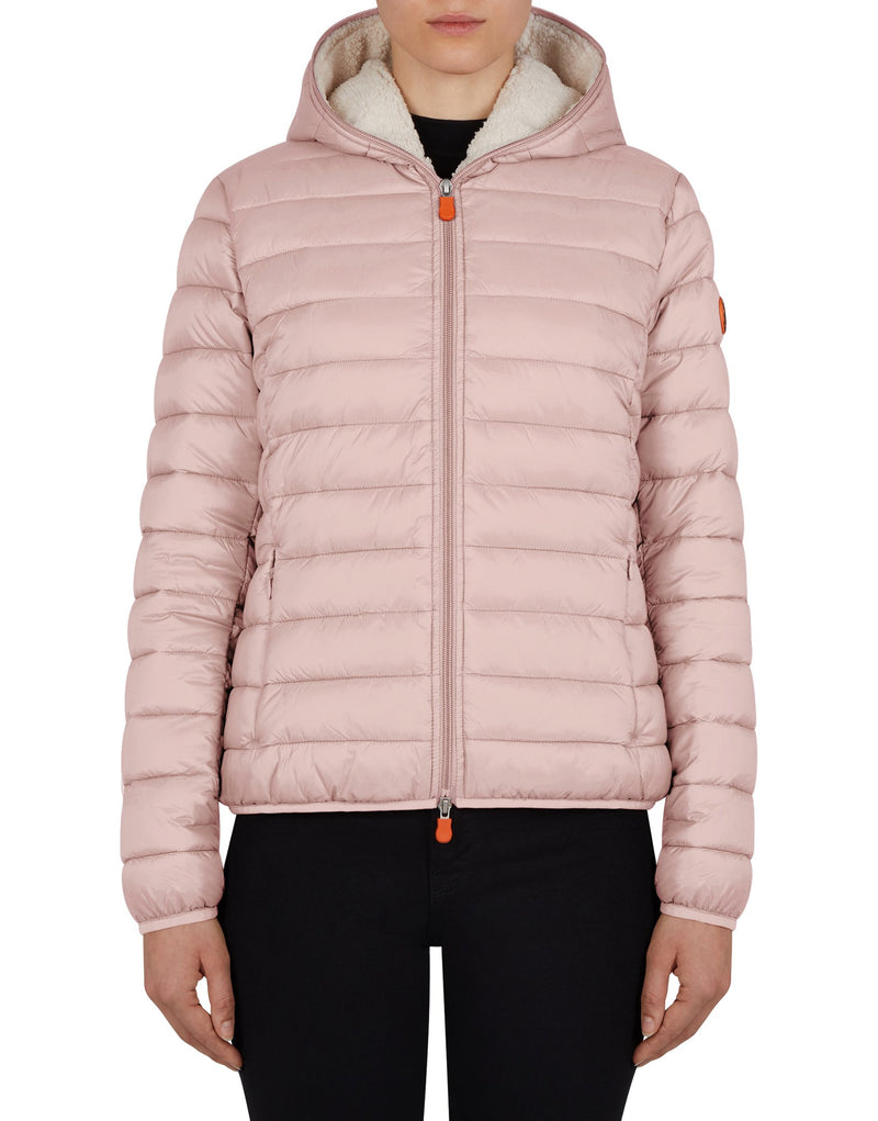 Women's Giga Faux Sheepskin Hooded Jacket - Blush