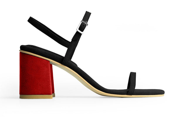 The Simple Vegan Sandal - Black & Red