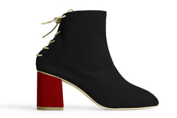 The Vegan Sock Boot - Black & Red