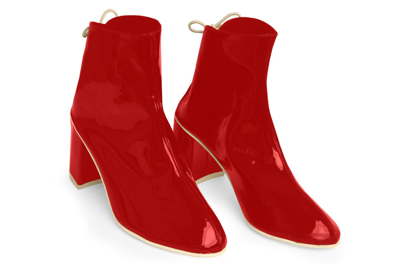 The Vegan Sock Boot - Glossy Red