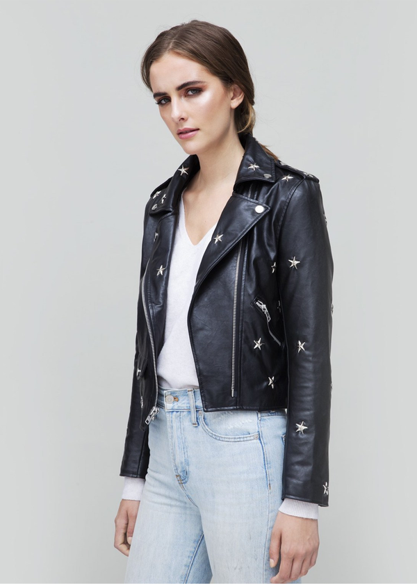 Star Vegan Leather Biker Jacket