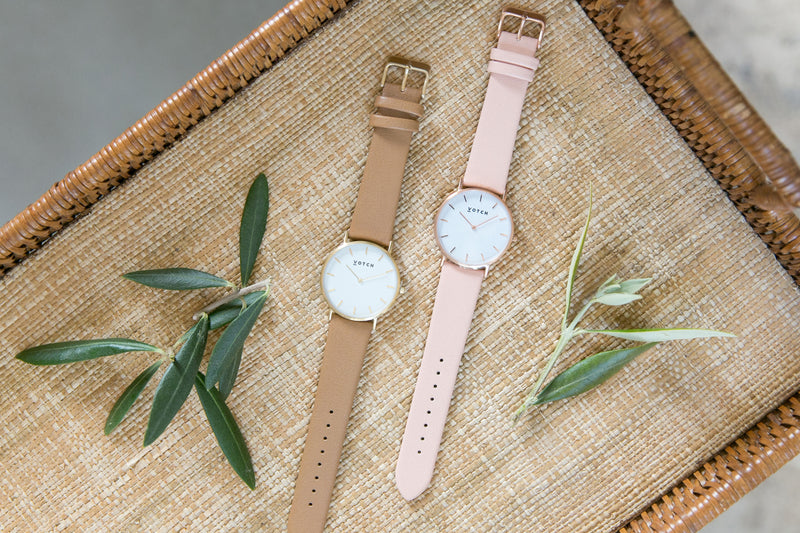 Pink and Rose Gold Vegan Leather Watch