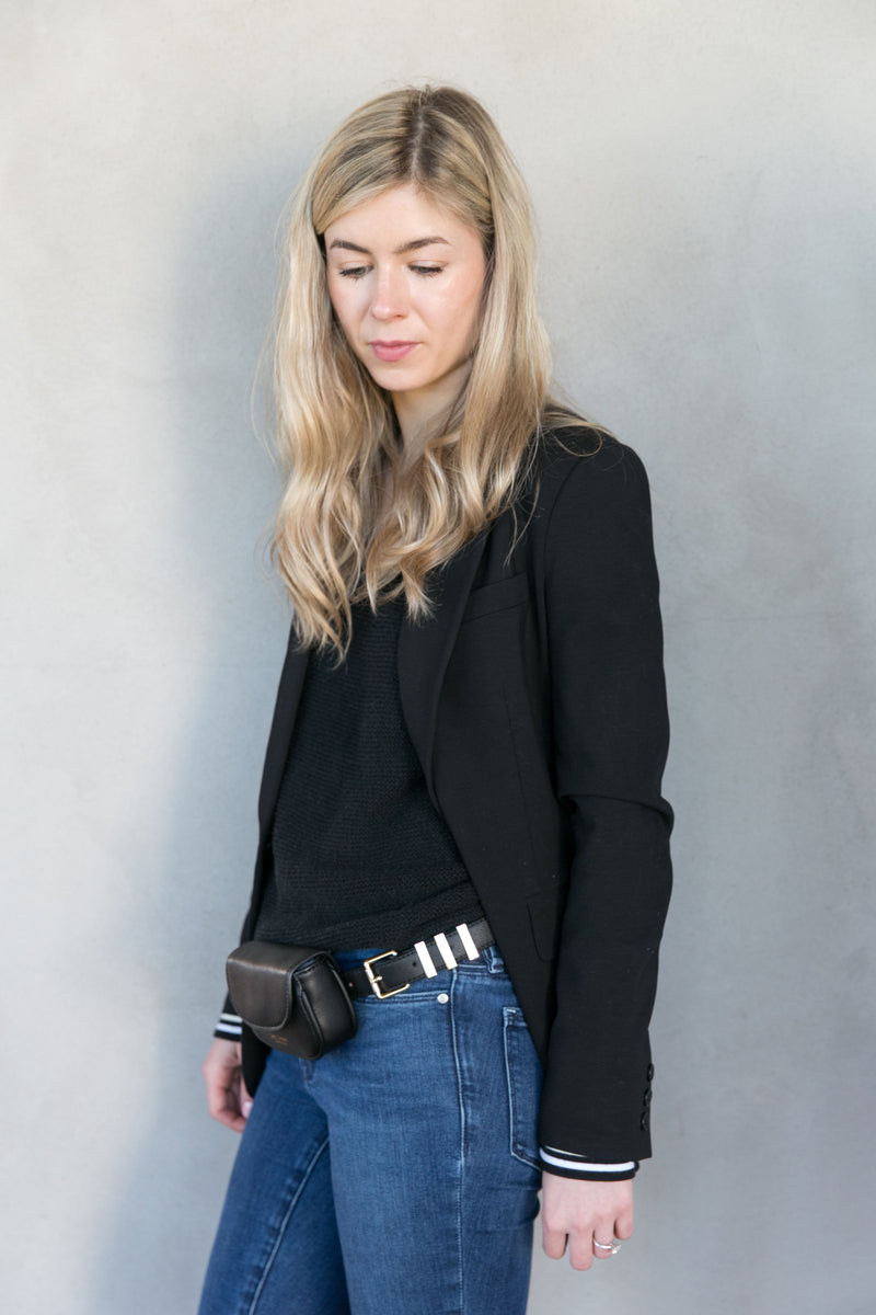 Monroe Vegan Leather Waist Bag - Silver Hardware