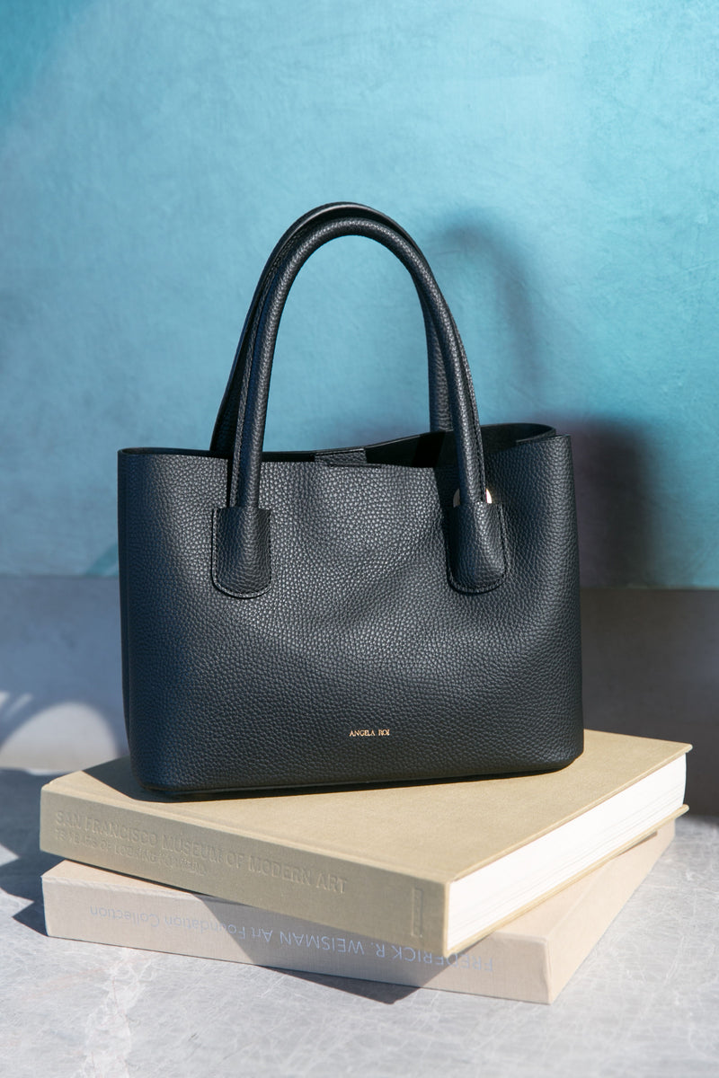 Cher Mini Vegan Leather Tote - Black