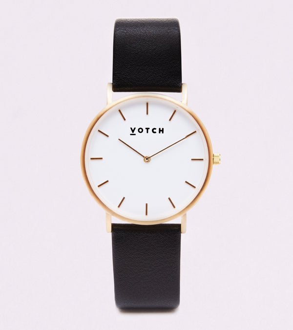 Votch Black and Gold Vegan Leather Watch
