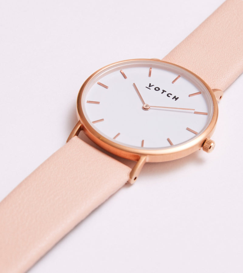 Votch Pink and Rose Gold Vegan Leather Watch
