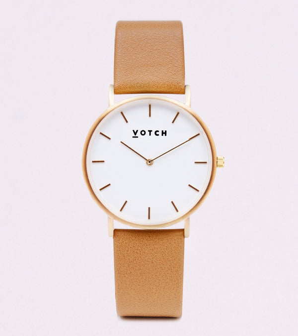 Votch Tan and Gold Vegan Leather Watch