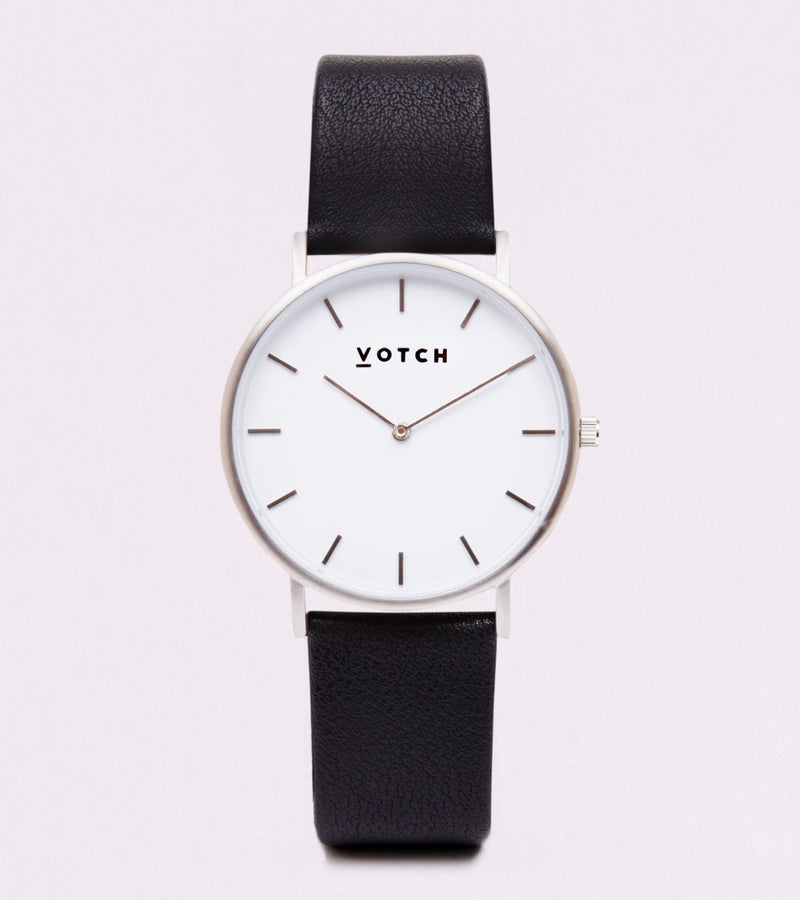 Votch Black and Silver Vegan Leather Watch