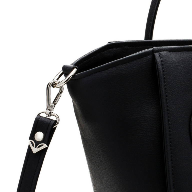 Alexandra K 1.4 Midi Tote - Black (Vegan Apple Leather)