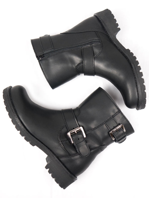 Vegan Leather Biker Boots - Black