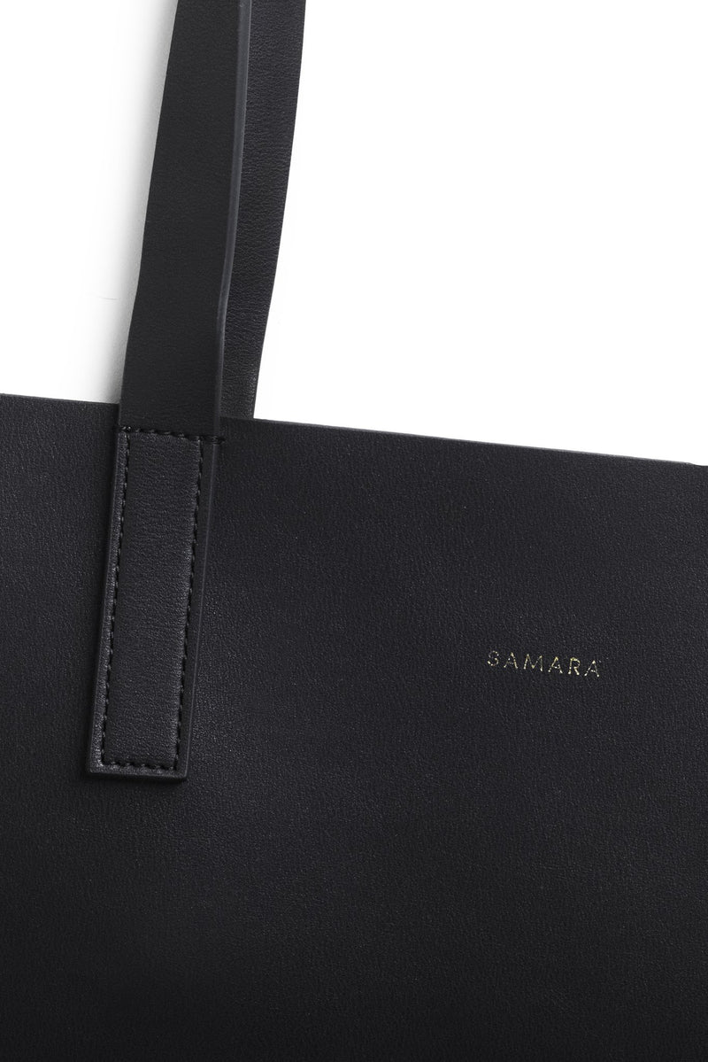 Samara Vegan Leather Tote Bag - Black