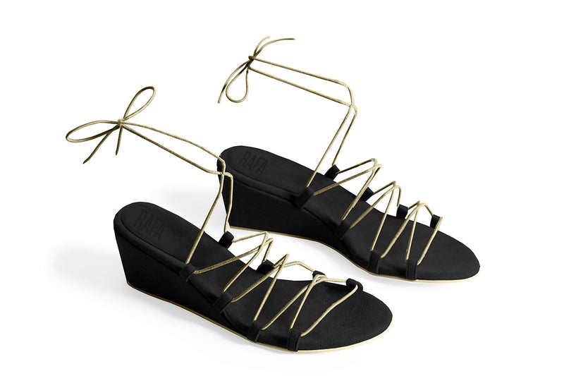 The Bungee Wedge Vegan Sandal - Black