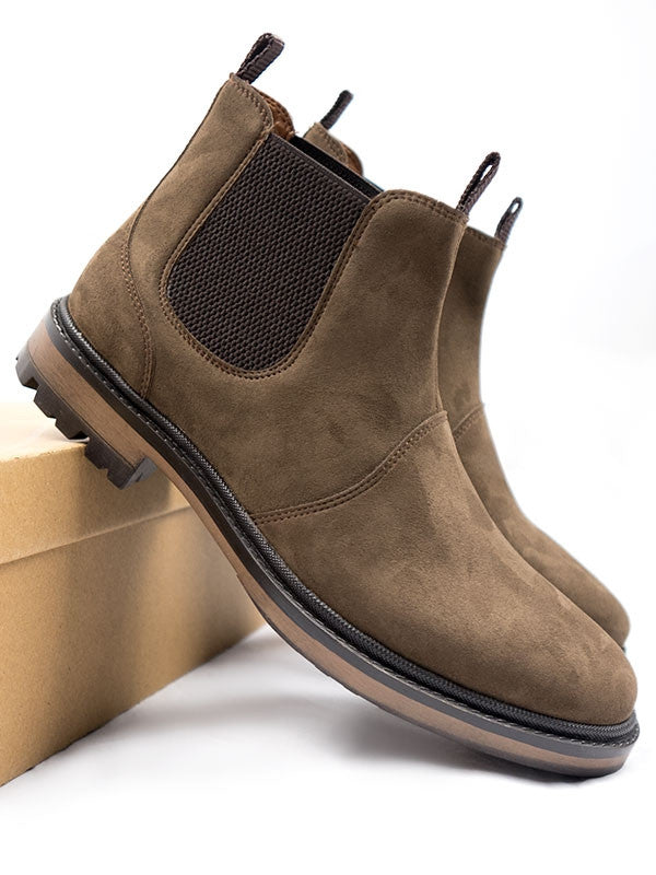 Vegan Suede Continental Chelsea Boots - Brown