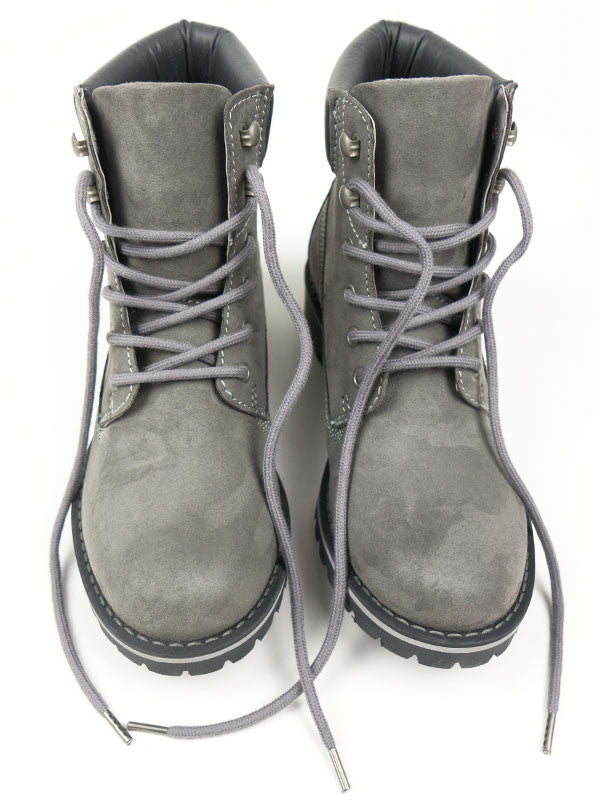 Vegan Suede Dock Boots - Gray