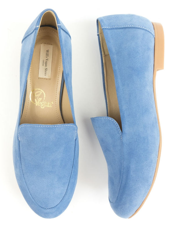 Vegan Suede Loafers - Sky Blue