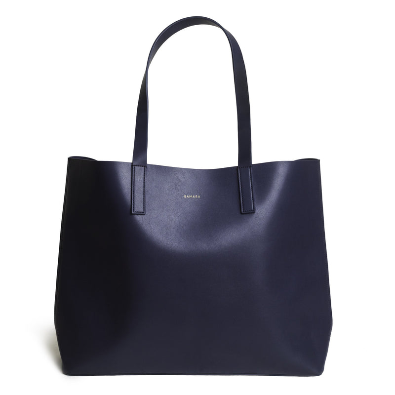 Samara Vegan Leather Tote Bag - Navy