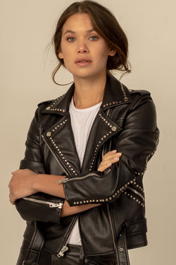 Isabella Vegan Leather Biker