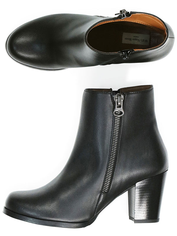 Vegan Leather Quarter Length Boots - Black
