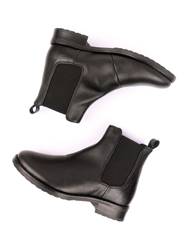 Vegan Leather Smart Chelsea Boots - Black