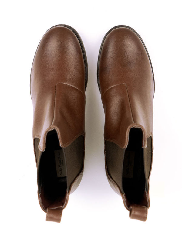 Vegan Leather Smart Chelsea Boots - Chesnut