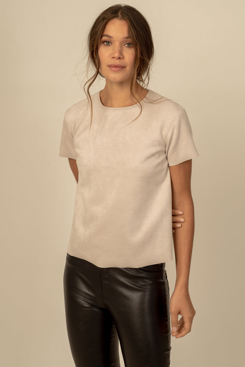 Simone Vegan Suede Top in Oatmeal