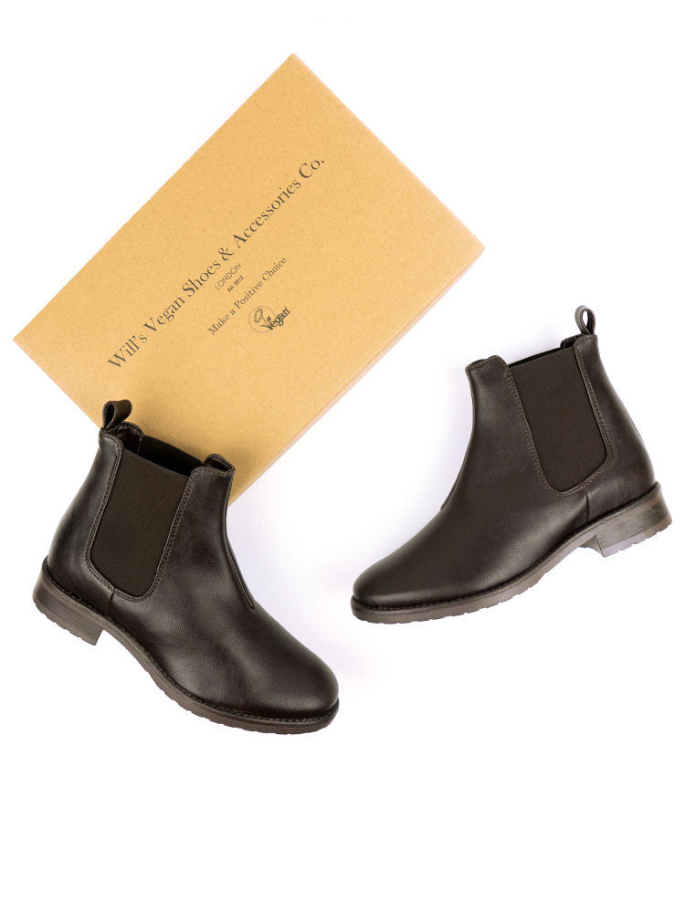 Vegan Leather Smart Chelsea Boots - Dark Brown