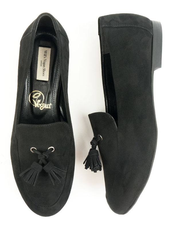 Vegan Suede Tassle Loafers - Black