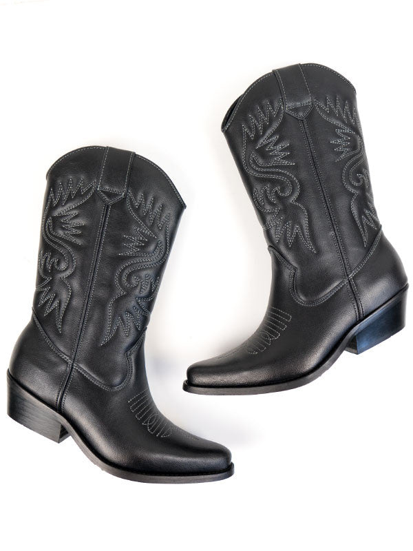 Vegan Leather Western Boots - Black