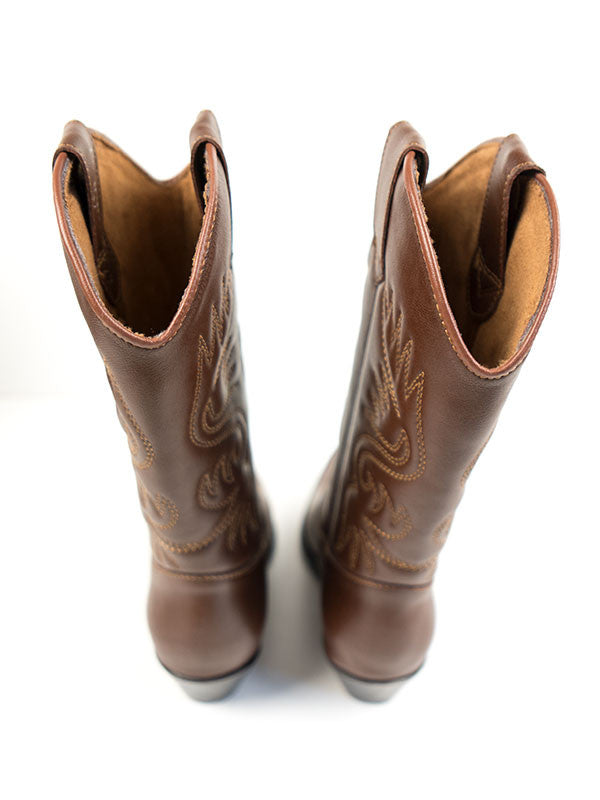 Vegan Leather Western Boots - Chesnut
