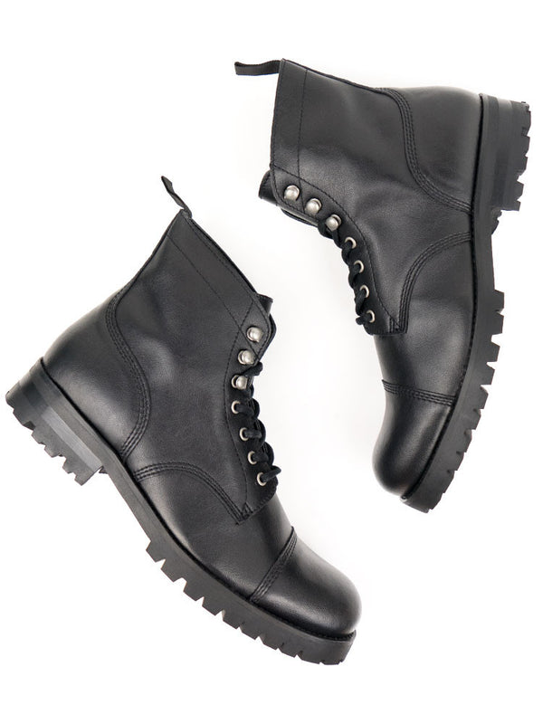 Vegan Leather Work Boots - Black