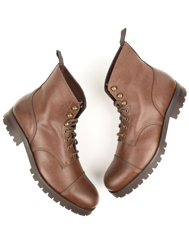 Vegan Leather Work Boots - Chesnut