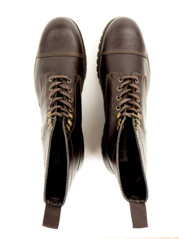 Vegan Leather Work Boots - Dark Brown