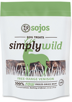 Sojos Simply Wild Venison Freeze-Dried Dog Treats, 2.5-oz bag