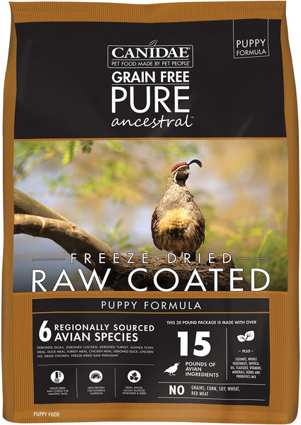 CANIDAE Grain-Free PURE Ancestral Puppy Avian Formula Freeze-Dried Raw Coated Dry Dog Food