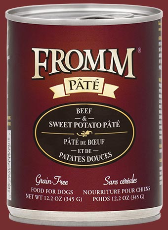 Fromm Grain Free Beef & Sweet Potato Pate Canned Dog Food, 12.2-oz