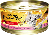Fussie Cat Super Premium Chicken with Egg Formula in Gravy Grain-Free Canned Cat Food, 2.8-oz