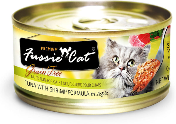 Fussie Cat Premium Tuna with Prawns Formula in Aspic Grain-Free Canned Cat Food, 2.82-oz